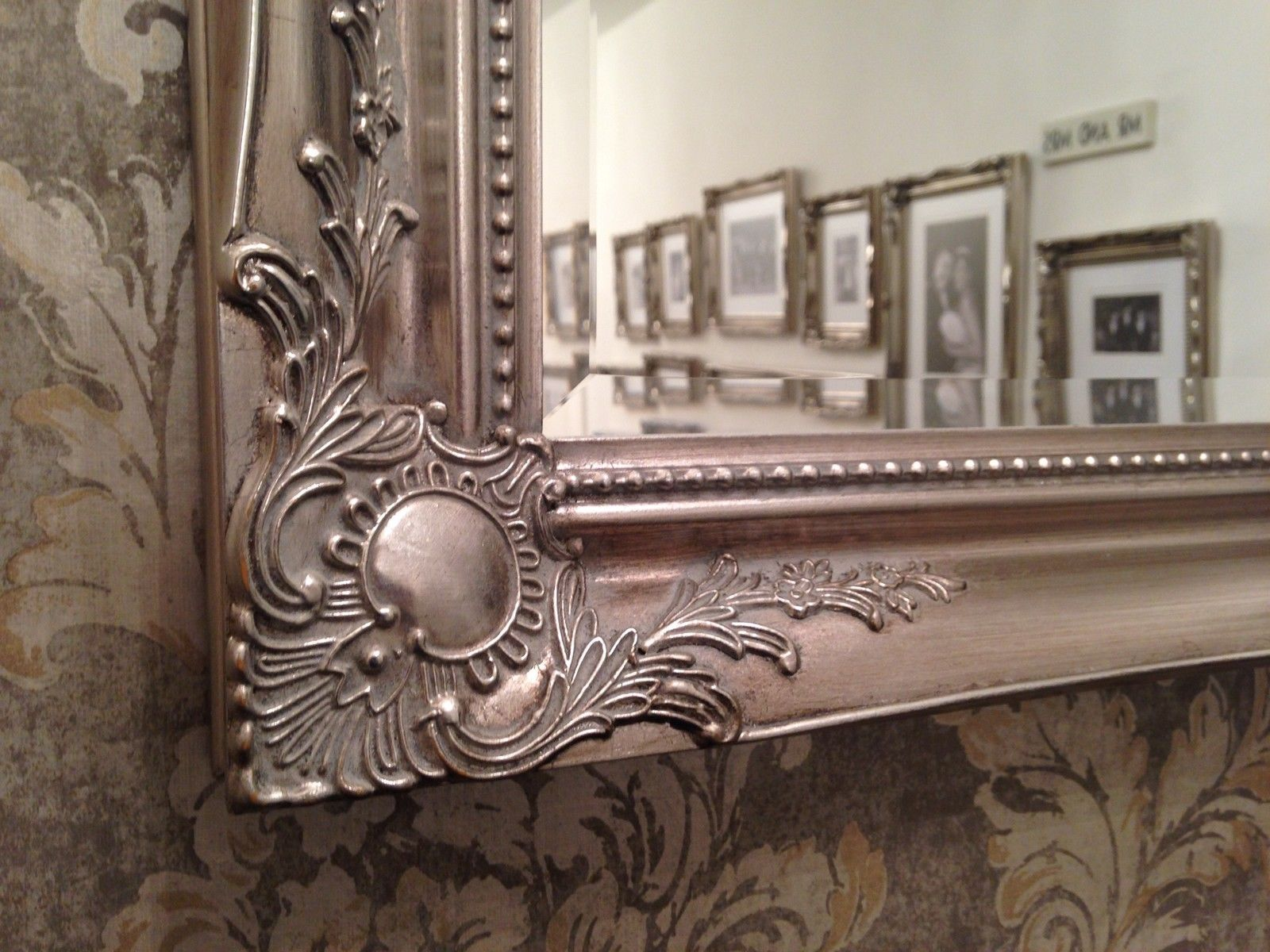 Large Antique Silver Shabby Chic Ornate Decorative Over